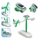 DIY 6-in-1 Solar Powered Educational Assembly Model Toy - White + Green