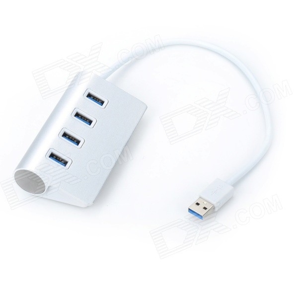 VINA portátil USB de 4 puertos 3.0 Super Speed ​​5.0 Gbps Hub para Tablet / PC - plata + blanco
