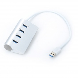VINA Portable 4-Port USB 3.0 Super Speed 5.0Gbps Hub for Tablet / PC - Silver + White