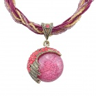 X002 Elastic Cord + Beads Chain Zinc Alloy + Opal + Rhinstone Pendant Necklace - Red + Bronze