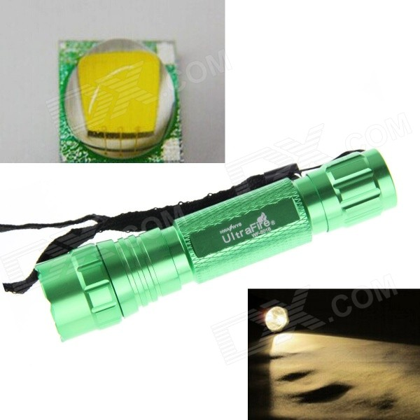 UltraFire 10W 800lm 5-Mode Warm White LED Memory Flashlight - Green
