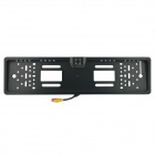 CARKING European Car License Plate w/ 4-LED Wired CMOS Rearview Camera - Black