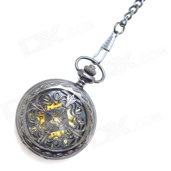 Masculina Retro oco Out Estilo de liga de zinco Analog Mecânica Pocket Watch - Black