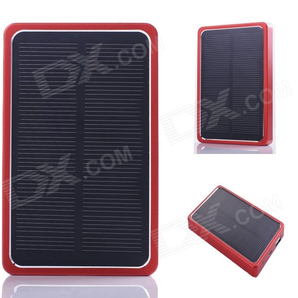 SP0024 Solar Powered 8000mAh batería externa del cargador del banco para el IPHONE / Samsung / HTC - Rojo