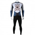 Paladinsport Cute Tiger Print Men's Long-sleeve Jersey + Pants Set for Cycling - White + Black (XL)