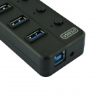 BYL-3015 Portable High Speed 4.8Gbps USB 3.0 5-Port Hub w/ Switch / Indicator - Black