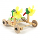 DIY Educational Bi-motor Assembling Car Toy - Wood Color