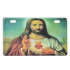 Jesus Sacred Heart Pattern Aluminum Alloy Decorative Car License Plate - Red + Green