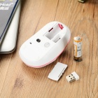 USB Motospeed G11 2.4GHz Wireless 2.0 1200DPI del ratón óptico LED - Blanco + Rosa