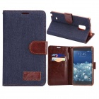 Fashionable Protective PU Leather Case w/ Stand for Samsung Note Edge N9150 - Denim Gray