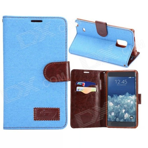 Protective PU Leather Case for Samsung Note Edge N9150 - Greenish Blue