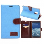 Fashionable Protective PU Leather Case w/ Stand for Samsung Note Edge N9150 - Greenish Blue
