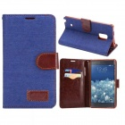 Fashionable Protective PU Leather Case w/ Stand for Samsung Note Edge N9150 - Denim Blue