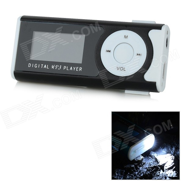 "1.0"" OLED Display MP3 Player w/ Torch / Clip / TF / Mini USB / 3.5mm - White + Black thumbnail"