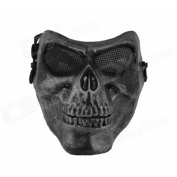 Cosplay Party Corpse Whole Face Mask - Black + Silver