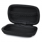 Portable Shock-Resistant Zippered Storage Case for In-Ear Earphones + MP3 + More - Black