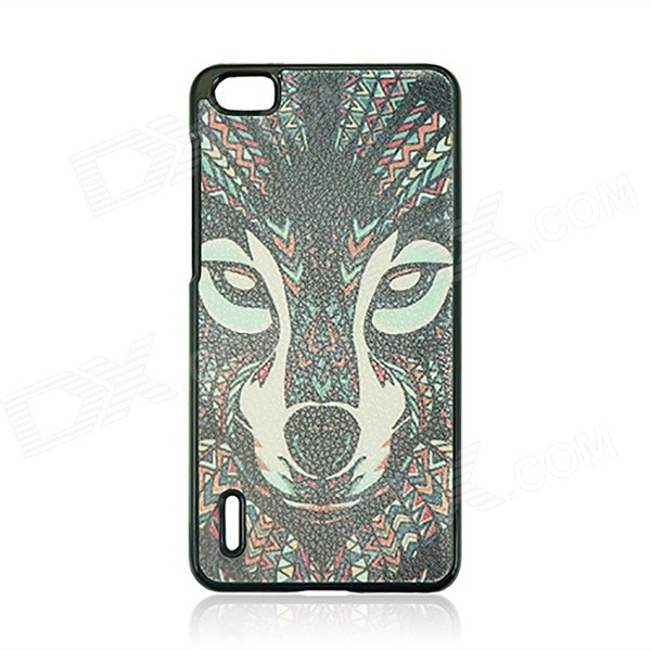 Wolf Pattern Protective PC Back Case for HUAWEI Honor 6 - Black + Red + Multi-Color