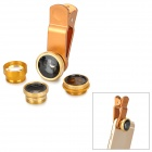 Universal 5-in-1 Clip-On Fish Eye + Wide Angle + Macro + Telephoto + CPL Lens Set - Gold