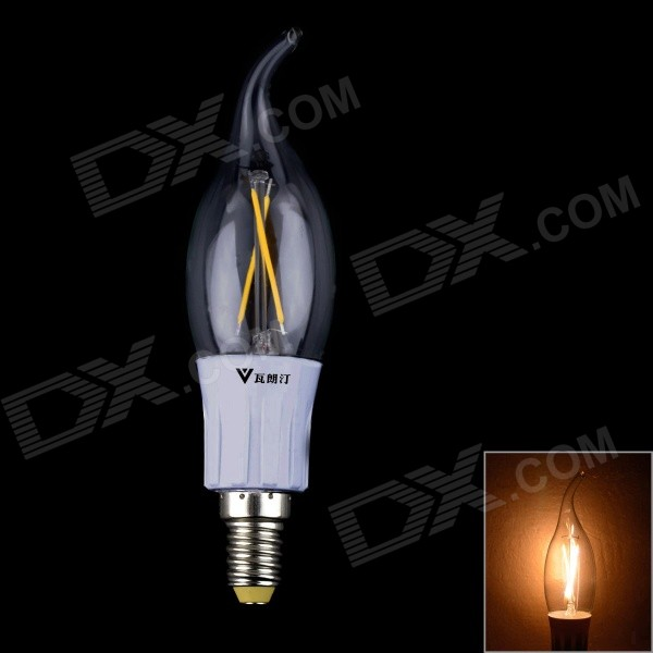walangting E14 2W 200lm 3200K blanc chaud ampoule de filament bougie 2-LED