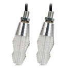 6W 50lm 6400K LED Cool White Light Motorcycle Steering Lamps - Silver + White (2 PCS)