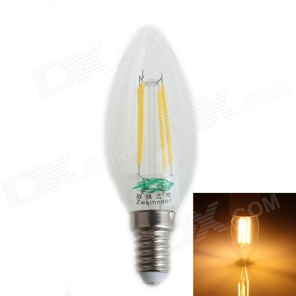 Zweihnder E14 4W 380LM 3500K LED Filament Warm Light Candle Lamp (AC 220~240V)