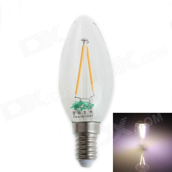 Zweihnder E14 2W 180lm LED Filament Cold White Light Candle Lamp