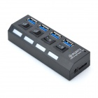 USB 3.0 Super Speed 4 Ports + 4-Switch hub for Tablet / PC - Black