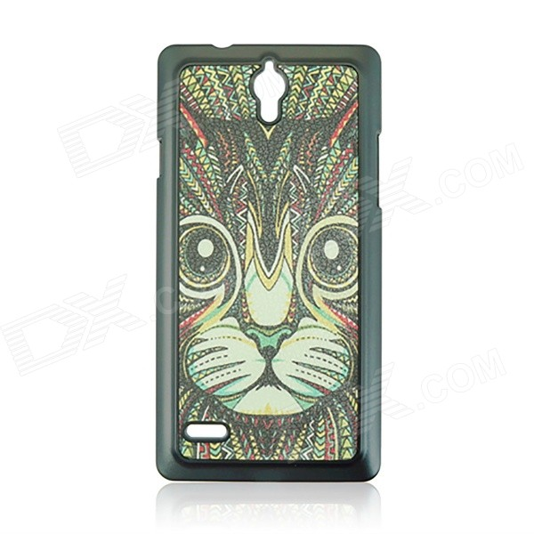 Cartoon Cat Pattern PC Back Case for HUAWEI G700 - Black + MultiColor