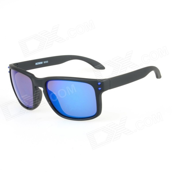 Stylish UV400 Protection PC Sunglasses - Black + Blue