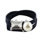 Fashionable Punk Style Artificial Pearl Hanging PU Leather Bracelet - Navy