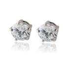 Rshow Women's 18K RGP Round Stud Earrings - Silver + Translucent White (Pair)