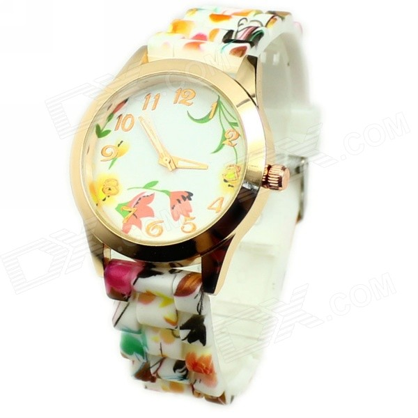 Women's Flower Pattern Silicone Band Quartz Watch - White + Golden