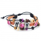 Retro Style Artificial Leather Band + Purple Rhinestone Bracelet - Purple + Brown