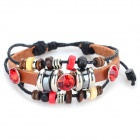 B01464 Retro Style Rhinestone Inlaid Bracelet - Coffee + Red + Multi-Color