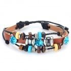 Retro Style Artificial Leather Band Handmade Bracelet - Brown + Blue