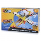 P260 DIY Solar Energy Wooden Airplane Toy - Yellow + Red