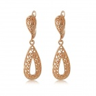 Rshow Women's 18K RGP Retro Water Drop Style Dangle Earrings - Golden (Pair)