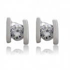 Rshow Women's 18K RGP + Crystal Stud Earrings - Silvery White (Pair)