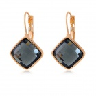 Women's Stylish Crystal Earrings - Blackish Grey + Golden (Pair)