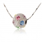 Rshow Women's Crystal Decorated Ball Pendant Necklace - White