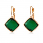 Women's Stylish Crystal Earrings - Grass Green + Gold (Pair)