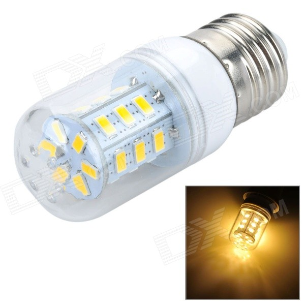E27 7W LED Corn Light Warm White 3000K 400lm 5730 SMD (AC 220~240V)E27<br>Form  ColorSilver + White + Multi-ColoredColor BINWarm WhiteMaterialPlastic + aluminumQuantity1 DX.PCM.Model.AttributeModel.UnitPower7WRated VoltageAC 220-240 DX.PCM.Model.AttributeModel.UnitConnector TypeE27Emitter TypeOthers,5730 SMDTotal Emitters24Actual Lumens400 DX.PCM.Model.AttributeModel.UnitColor Temperature3000KDimmableNoBeam Angle360 DX.PCM.Model.AttributeModel.UnitCertificationCEPacking List1 x LED bulb<br>