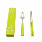 Portable Stainless Steel + PP Spoon + Chopsticks Set - Green + White