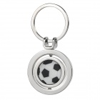 Rotating Football Style Alloy Key Ring Keychain - White + Black + Silver