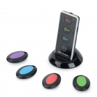 HL-KF04A 1-to-4 Key Finder Transmitter + Receivers Set w/ LED Flashlight / Base - Black + Red