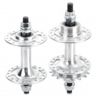 36-Hole Aluminum Alloy Front + Rear Hubs for Fixed Gear Bikes - Silver (Pair)