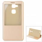 Protective Flip Open PU + PC Case w/ Auto Sleep / View Window / Stand for HUAWEI Mate 7 - Golden