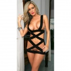 LT56 Hot Sexy Lace Lingerie Costume w/ G-String - Black (Free)