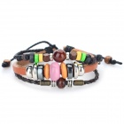 B01494 Retro String Beads PU Leather Bracelet - Brown + Silver