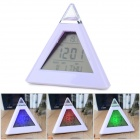 "2.3"" LCD 7-Color Pyramid Style Desk Clock w/ Thermometer / Calendar - White (3 x AAA)"
